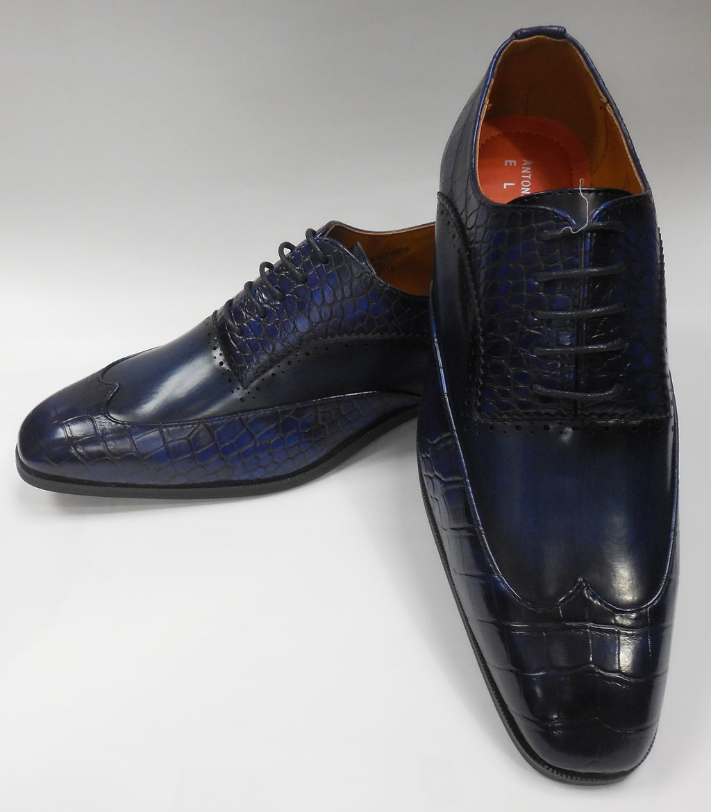 Mens Elegant Navy Blue Wingtip Oxford Dress Shoes Antonio Cerrelli 6839 S