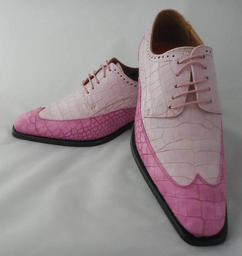 Mens Stylish Pink Rose Two-Tone Wingtip Dress Shoes Antonio Cerrelli 6870 S