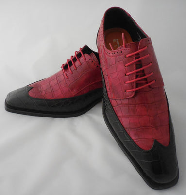 Mens Classic Red + Black Two-Tone Wingtip Dress Shoes Antonio Cerrelli 6870 S