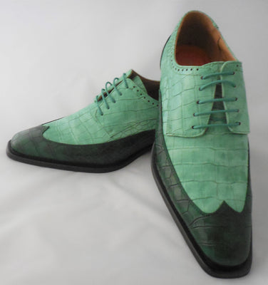 Mens Stylish Kelly Green Two-Tone Wingtip Dress Shoes Antonio Cerrelli 6870 S
