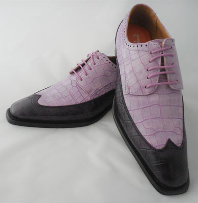 Mens Stylish Purple Lavender Two-Tone Wingtip Dress Shoes Antonio Cerrelli 6870 S