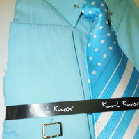 Mens Teal Turquoise Fancy Eyelet Collar Bar F/C Dress Shirt & Tie Set 4352 S
