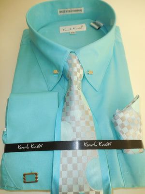 Mens Teal Turquoise Fancy Collar Bar F/C Dress Shirt + Tie Set Karl Knox 4362 S