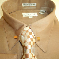 Mens Cocoa Tan Fancy Collar Bar F/C Dress Shirt + Tie Set Karl Knox 4362 S