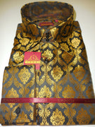 Mens Black Mega Gold Arabesque High Collar French Cuff Shirt SANGI Style 1008