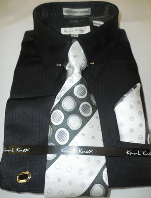 Mens Black Tone on Tone Stripe Fancy Collar Bar Dress Shirt Karl Knox 4367