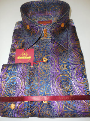 Mens Purple Navy Gold Exquisite Paisley Cuffed High Collar Shirt SANGI 1030