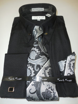 Mens Black Collar Bar Pin Eyelet French Cuff Dress Shirt Paisley Tie Karl Knox 4376