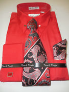 Mens Red Pin Eyelet French Cuff Dress Shirt Paisley Tie Karl Knox 4376
