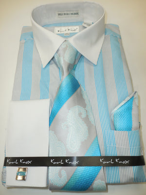 Mens Turquoise Blue Multi-Color Dress Shirt All White Cuff/Collar Karl Knox 4356 S
