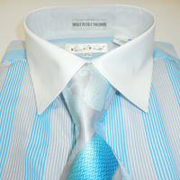 Mens Turquoise Blue Multi-Color Dress Shirt All White Cuff/Collar Karl Knox 4356