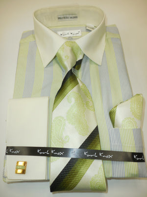 Mens Sage Olive Multi-Color Dress Shirt All Cream Cuff/Collar Karl Knox 4356 S