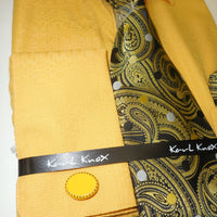 Mens Gold Mustard Woven Look Dress Shirt + Beautiful Brown Tie Karl Knox 4363 S