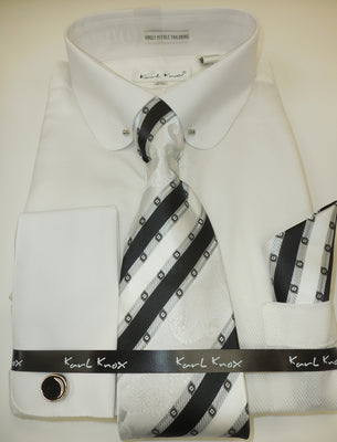 Mens Gorgeous White Eyelet Collar Bar French Cuff Dress Shirt by Karl Knox 4380
