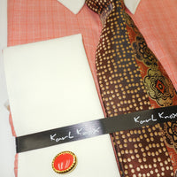 Mens Rust Peach Checks French Cuff Dress Shirt Eyelet Collar Bar Karl Knox 4385