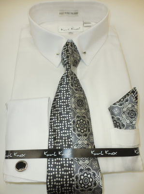 Mens White Pointed Pin Collar Bar French Cuff Dress Shirt + Tie Karl Knox 4385