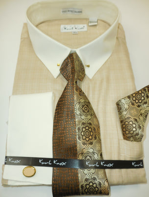 Mens Beige Taupe Ivory Checks Collar Bar Pin Collar Dress Shirt Karl Knox 4385