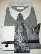 Mens Gray White Check French Cuff Dress Shirt Pin Collar Bar Karl Knox 4385