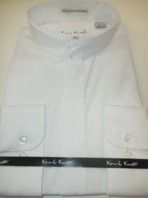 Mens White No Collar Nehru Collarless Barrel Cuff Dress Shirt Karl Knox KBC01