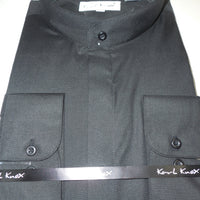Mens Black No Collar Nehru Collarless Barrel Cuff Dress Shirt Karl Knox KBC01