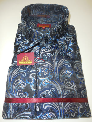 Mens Navy Blue Paisley High Collar Cuffed Shirt SANGI ROME COLLECTION # 2004