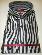 Mens Black White Zebra High Collar French Cuff Shirt SANGI ROME COLLECTION # 2032