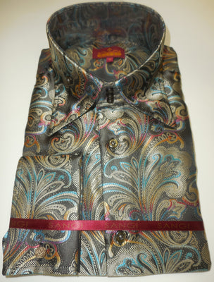 Mens Black Colorful High Collar Jacquard F/C Shirt SANGI ROME COLLECTION # 2003