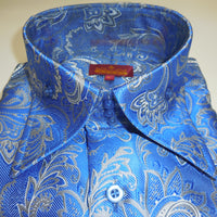 Mens French Blue Arabesque High Collar Cuffed Shirt SANGI ROME COLLECTION # 2010