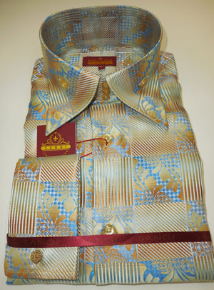 Mens Blue Gold High Collar French Cut Shirt SANGI ROME COLLECTION # 2011