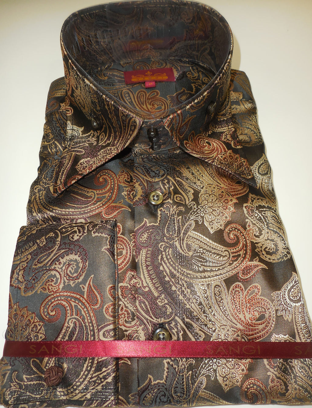 Mens Chocolate Paisley High Collar Jacquard Shirt SANGI ROME COLLECTION # 2014