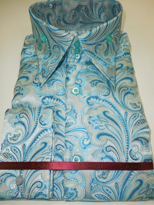 Mens Teal Paisley Flourish High Collar Cuffed Shirt SANGI ROME COLLECTION # 2017