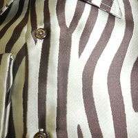 Mens Brown Cream Zebra High Collar Cuffed Shirt SANGI ROME COLLECTION # 2034