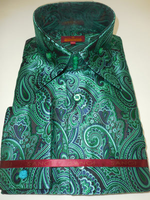 Mens Emerald Green Paisley High Collar Cuffed Shirt SANGI ROME COLLECTION # 2019