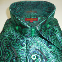 Mens Amazing Green Paisley High Collar Cuffed Shirt SANGI ROME COLLECTION # 2019