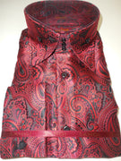 Mens Red Black Jacquard Paisley High Collar Shirt SANGI ROME COLLECTION # 2020