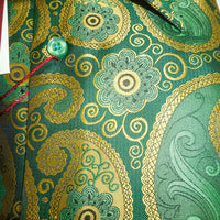 Mens Money Green + Gold Paisley High Collar Shirt SANGI ROME COLLECTION # 2018