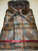 Mens Gray Houndstooth Brown Paisley Jacquard Shirt SANGI ROME COLLECTION # 2001