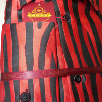 Mens Red Black Zebra High Collar French Cuff Shirt SANGI ROME COLLECTION # 2033