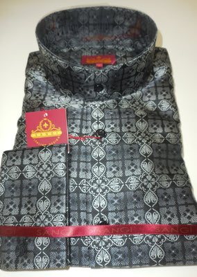 Mens Black Gray Ornate High NEHRU Collarless Shirt SANGI ROME COLLECTION # 2024