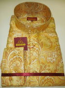 Mens Gold Mustard Tan Arabesque NEHRU Collarless F/C Shirt SANGI ROME COLLECTION # 2028