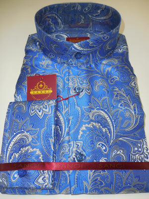 Mens Blue Arabesque NEHRU Collarless F/C Shirt SANGI ROME COLLECTION # 2026