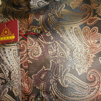 Mens Chocolate Paisley High NEHRU Collarless Shirt SANGI ROME COLLECTION # 2029