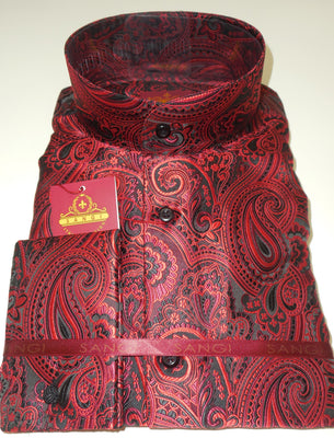 Mens Red Black Jacquard NEHRU Collarless Shirt SANGI ROME COLLECTION # 2030