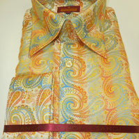 Mens Gold Yellow Colorful High Collar Cuffed Shirt SANGI ROME COLLECTION # 2006