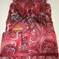 Mens Red Black Paisley High Collar Cuffed Shirt SANGI ROME COLLECTION # 2005