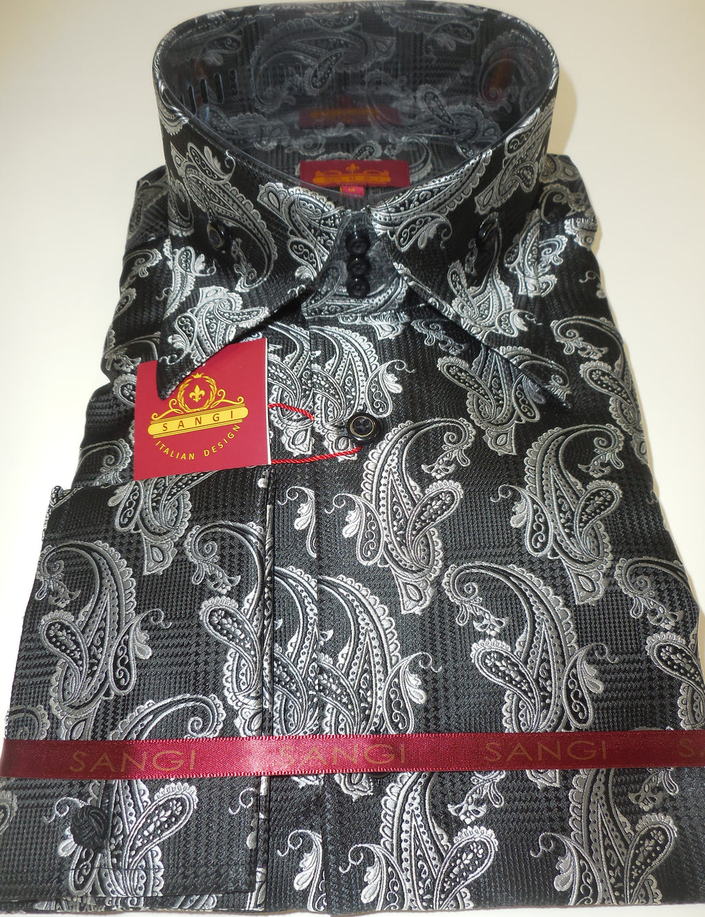 Mens Black White Houndstooth Paisley Jacquard Shirt SANGI ROME COLLECTION # 2002