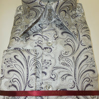 Mens Silver Violet Paisley High Collar Cuffed Shirt SANGI ROME COLLECTION # 2016