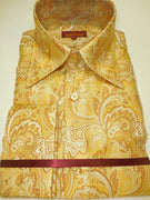 Mens Yellow Gold Arabesque High Collar Cuffed Shirt SANGI ROME COLLECTION # 2012
