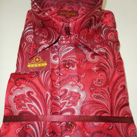 Mens Red Baroque Paisley High Collar Cuffed Shirt SANGI ROME COLLECTION # 2015