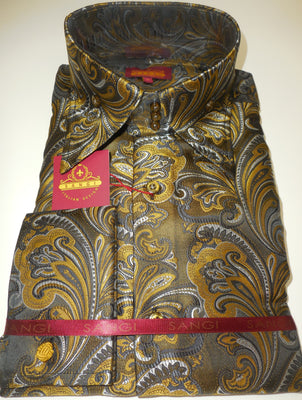 Mens Black Gold Baroque High Collar Cuffed Shirt SANGI ROME COLLECTION # 2007